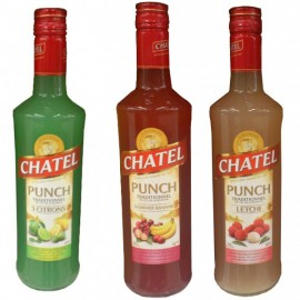Pack 3 bouteilles Punch chatel 70 cl Goyavier banane - 3 citrons - Letchi