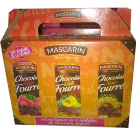 Valisette 6 tablettes chocolat fourré Mascarin 600g