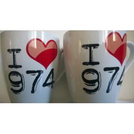 Lot de 2 mugs I love 974 - Ile de La Réunion